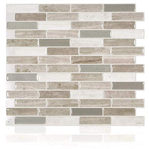 Smart Tiles Self Adhesive Wall Tiles - Milenza Vasto - 4 Sheets of 10.20' x 9.00' (25.91 cm x 22.86 cm) Kitchen and Bathroom Stick on Tiles - 3D Peel and Stick Backsplash