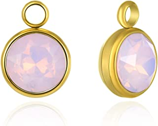 10pcs Gold Plated Stainless Steel October Pink Opal 8mm (0.31 Inch) Birthstone Charms Tarnish Resistant for Jewelry Craft ...