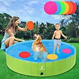"""Foldable Dog Pools, 65"""" XL Larger Dogs Portable Bathtub for Kids Pet Swimming Pool for Large Dogs and Cats Perfect Backyard/Outside Water Playing"""