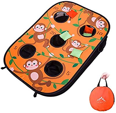Himal Collapsible Portable 5 Holes Cornhole Game Cornhole Set Bounce Bean Bag Toss Game with 10 Bean Bags,Tic Tac Toe Game Double Games (3 x 2-Feet, Single Board) by Himal Outdoors