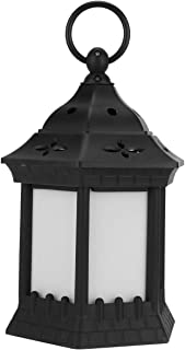 SOLUSTRE Halloween Lantern Flameless LED Candle Tabletop Lantern Decoration for Indoor Outdoor Black Without Battery