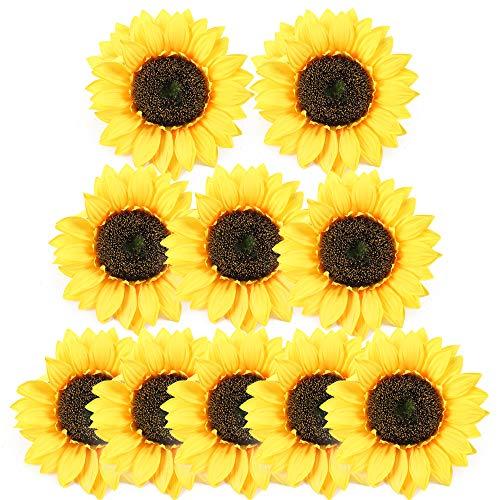 HUAESIN 10pcs Cabeza Girasoles Artificiales Grandes 18cm Falsos Girasol Tela Flores Artificiales Decoracion Girasoles para Boda Mesa Fiesta Banquete DIY Disfraz Invitación Amarillas