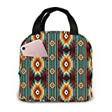Lsjuee Ethnic Navajo Native American Southwestern Picnic Bag Lunch Bag Gran capacidad impermeable Unisex Shopping Bag School Picni