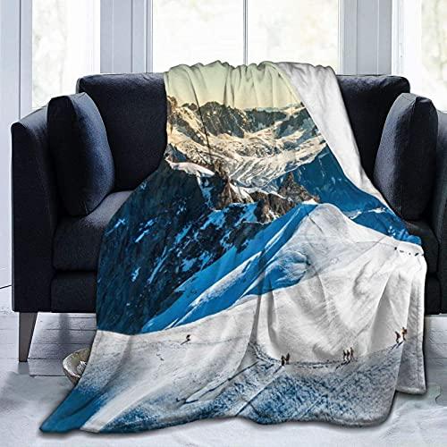 Manta súper suave, de Mont Blanc, Chamonix Francia, Europa, turistas, montañas, calientes, antibolitas, franela, para sofá, dormitorio, 127 x 101 cm
