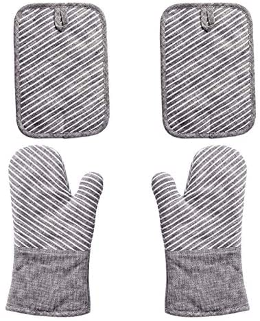 Nuovoo 4 Piece Oven Mitt and Pot Holder Set Non Slip Silicone Surface 500 F Heat Resistant Oven product image