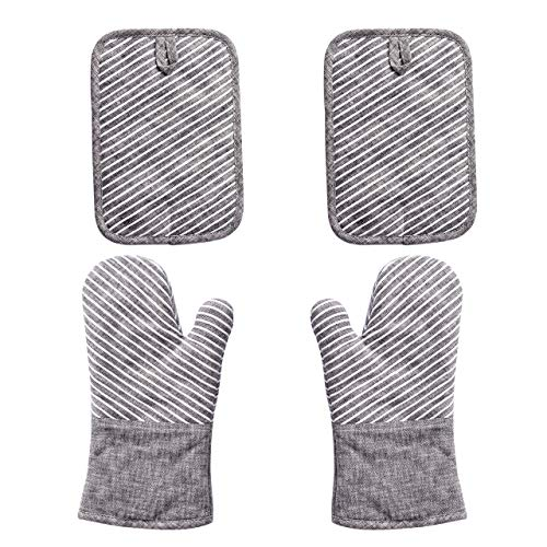 Nuovoo 4-Piece Oven Mitt and Pot Holder Set, Non-Slip Silicone Surface, 500 F Heat Resistant Oven...