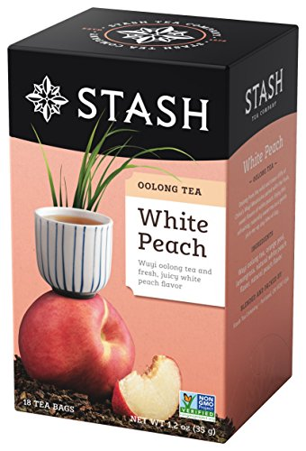 Stash Tea White Peach Wuyi Oolong Tea 18 Count Tea Bags in Foil (Pack of 6) Individual Oolong Black Tea Bags, Use in Teapots Mugs or Cups, Brew Hot Tea or Iced Tea