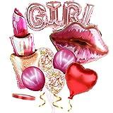 Boji Globos de oro rosa para boda, tamaño XXL, forma de corazón, confeti, globos de color oro rosa, set para bodas, San Valentín, decoración para despedidas de soltera, 9 unidades