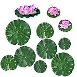 Quanyuchang 11 unidades de plantas flotantes artificiales de lirio de agua, flores de loto y hojas para el hogar, jardín, estanques, piscina, acuario, pecera, decoración de paisaje.