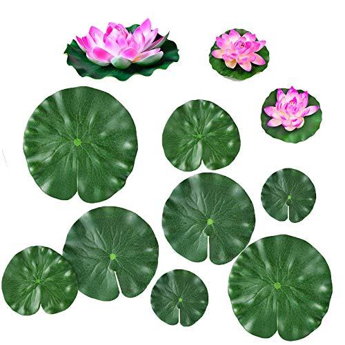 Quanyuchang Künstliche schwimmende Pflanzen, Wasserlilie, Lotusblüte und Blätter, Pads für Zuhause, Garten, Teich, Pool, Aquarium, Landschaftsdekoration, 11 Stück
