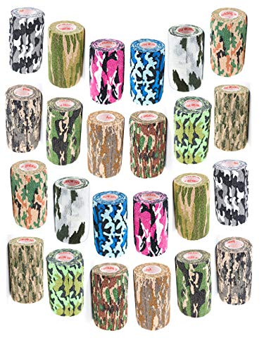 3 Inch Self Adhesive Medical Bandage Wrap Sport Tape (Camo Variety) (24 Pack) Strong Elastic Self Adherent Cohesive First Aid Sport Flex Rolls for Wrist Ankle Knee Sprains and Swelling