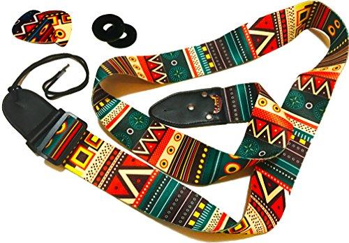 Vintage Aztec Farben Gitarrengurt Bundle beinhaltet 2 Strap Locks & 2 einzigartige Picks. Verstellbarer Polyestergitarrengurt - Geeignet für Bass-, Elektro- und Westerngitarre.