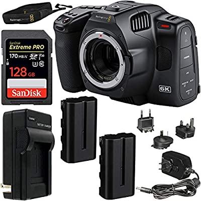 Blackmagic Design Pocket Cinema Camera 6K Pro (Canon EF) with SanDisk Extreme PRO 128GB SDXC Memory Card (UHS-I/V30/U3/Class-10), 2X Seller Supplied Replacement Batteries & More from Wholesale Photo