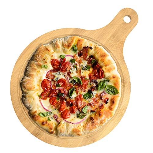 Vassoio per pizza in bambù, rotondo, multifunzione, per antipasti, pizza, pizza, con manico per cuocere pizza, pane, formaggio, frutta e verdura (25,4 cm)