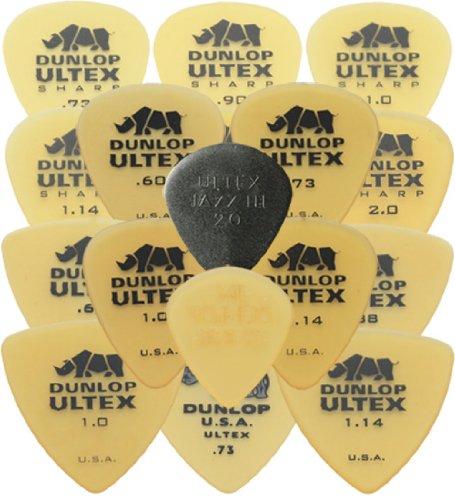 Dunlop Ultex Standard / Ultex Sharp / Ultex Triangle / Ultex Jazz Plektren-Set (1 Stück je Typ, in Plektrumdose von Dirty Riffs), 17 Stück