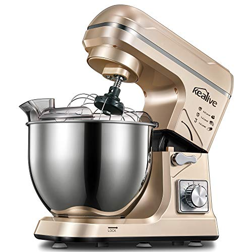 Kealive Stand Mixer, Electric Food Mixer Kitchen with 5.5QT, 6+P-Speed, Tilt-Head Food Mixer with Dough Hook, Wire Whip & Beater, Stainless Steel Bowl, Upgraded Transparent Cover, Gold