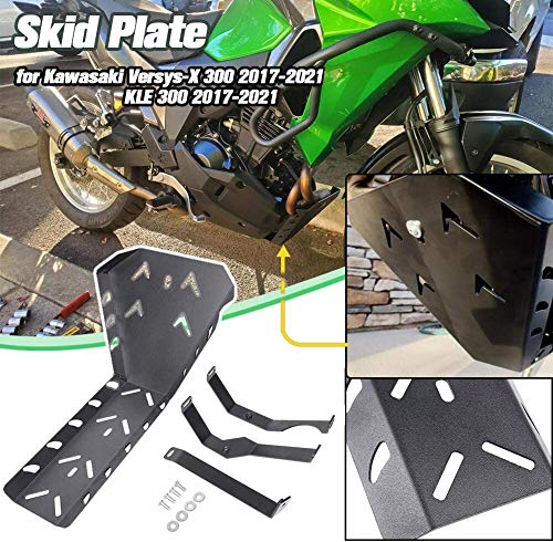 Lorababer Motorcycle Versys X 300 KLE 300 KLE-300 2017 2018 2019 2020 Engine Guard Protector Bash Skid Plate Frame Guard Aluminum Chassis Protection for Kawasaki Versys-X 300 X300 KLE300