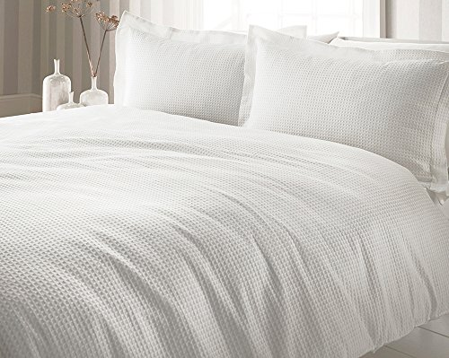 Riva Paoletti Waffle Plain White King Size Duvet Cover Set - Waffle Weave Texture - 2 X Oxford Border Pillowcases Included - 100% Cotton - Machine Washable - 228 X 218cm (90' X 86' Inches)
