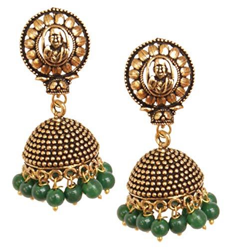 Pahal Traditionelle Neue Grün Perle Antik Stil Klein Indische Gold Ton Jhumka Ohrringe Bollywood Schmuck für Frauen
