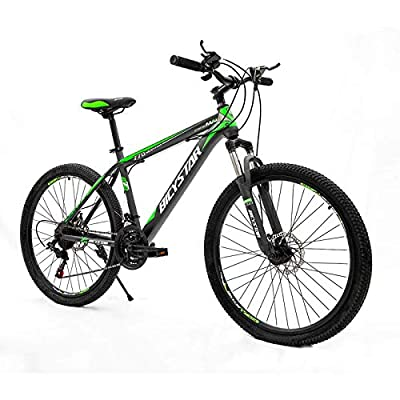26 Inch Adult Mountain Bike for Men and Women, 21 Multiple Speed, Front Suspension, Dual Disc Brakes, High Carbon Steel Frame, Outdoor Roadmaster, Hybrid Road Bicycle, Black & Green 【US Stock】