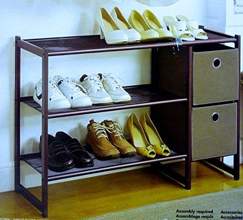 Organize-It-All Trois niveaux en métal à chaussures avec deux bacs de rangement