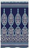 ABAKUHAUS marokkanisch Schmaler Duschvorhang, Mystisches orientalisches Design, Badezimmer Deko Set aus Stoff mit Haken, 120 x 180 cm, Königsblau Teal