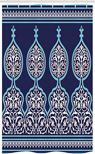 ABAKUHAUS Marocchino Tenda da Doccia Stalla, Mystic Disegno Orientale, Set per Il Bagno in Tessuto con Ganci, 120 x 180 cm, Teal Royal Blue