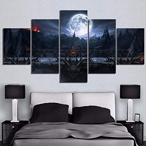 5 impresiones en lienzo 5 piezas Fantasy Art Final Fight Pinturas de paisajes Mortal Kombat Game Scene Paintings Hd Wall Pictures(size 2)