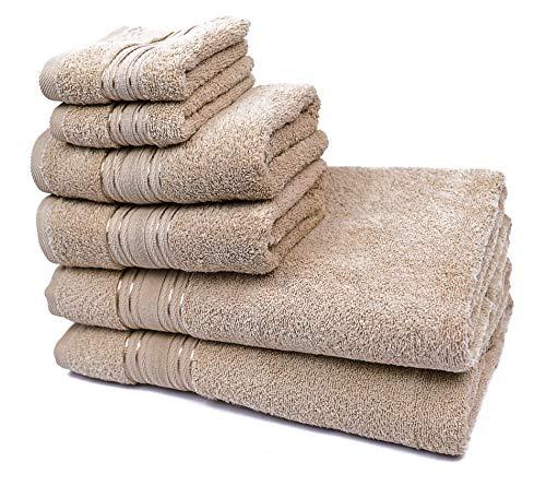 efulim home 6-teiliges Handtuchset | Reine Baumwolle | Badetücher | Handtücher Set | Badehandtuch | Duschhandtuch | Badetücher Set | Waschmaschinen geeignet (Burlywood)