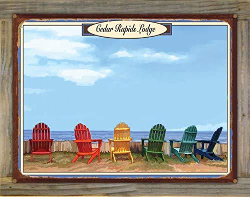 Northwest Art Mall Cedar Rapids Lodge, Minnesota Adirondack Chairs Rustic Metal Print on Reclaimed Barn Wood from Alla Prima Painting by Artist Joanne Kollman 18' x 24'