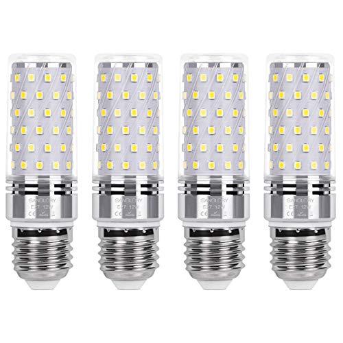 SanGlory E27 LED Mais Glühbirnen 12W, entspricht 100W Glühlampe Nicht dimmbar 6000K Kaltweiß E27 Maiskolben, 1350Lm Energiesparlampe Kleine Edison-Schraube Kerze Leuchtmittel (4er-Pack)