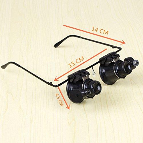 FYYONG 2 LED de los vidrios 20X Lupa Tipo Que USA Doble Ojo Lupa Binocular reparación del Reloj de la Herramienta Lupa con Luces LED Ajustables (Color : Black, Magnification : 20X)