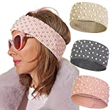 Winter Pearls Elastic Knitted Headband - 3 Pcs knitted Hairband Ear Warmer Solid Color Corchet Head Wrap for Women and Girls (Gray+Pink+Light brown)