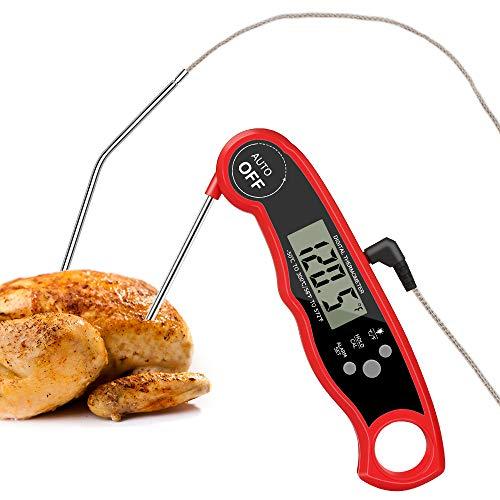 HOSPAOP Küchenthermometer Digital Fleischthermometer Grillthermometer,Instant Read Grillthermometer mit 2 Edelstahlsonden & Langem Draht.Temperatur Voreinstellung für Küche Grillen und BBQ