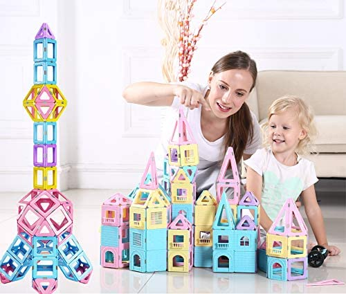 dreambuilderToy 108 Piece Magnetic Tiles,Magnet Building Blocks,STEM Building logs for Girls and Boys Birthday Gift (108 Pieces)