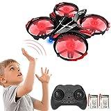 GEYUEYA Home Mini Drohne für Kinder, RC Drone Quadrocopter Ferngesteuert, Infrarot Induktions Drohne mit Höhe-halten/Kopflos-Modus/EIN-Tasten-Rückkehr/3D Flip, Spielzeug drohnen für Anfänger(2 Akkus)