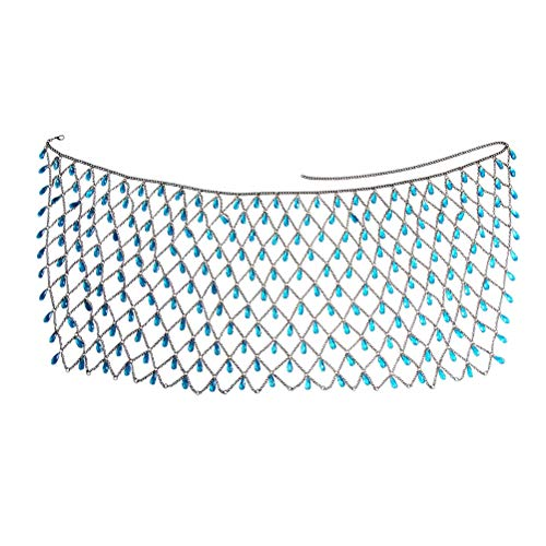 PRETYZOOM Falda de Cintura de Cadena Sexy Mujer Rhinestone Body Chain Jewelry Fringe Falda Cadena de Cintura Azul