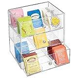 mDesign Küchen Organizer mit 3 Schubladen – Aufbewahrungsbox für Teebeutel, Kaffeepads, Süßungsmittel und mehr – Teekiste aus Kunststoff – durchsichtig