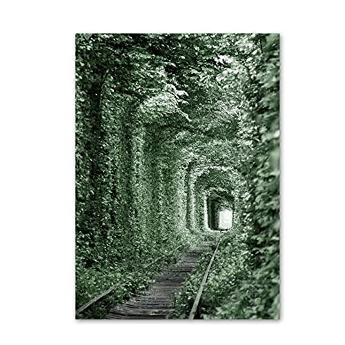 Wsxyhn Flower Country Farm Green Tunnel Wall Art Canvas Painting Carteles nórdicos e Impresiones Cuadros de Pared para la decoración del hogar de la Sala de estar-50x70cmx1pcs - Sin Marco