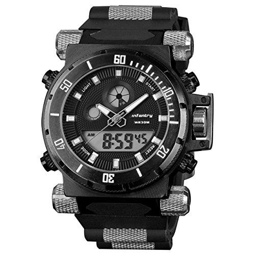 Infantry Herrenuhr Digital Armbanduhr Männer Uhren Militär Outdoor Uhr Schwarz Herren Männeruhr Mit Kautschuk Armband