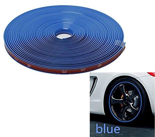 8mm x 8m - BLAU/BLUE Felgenrand Alufelgenschutz Selbstklebende Protektor-Band Kunststoff-Schutzstreifen Schutz Streifen Kunststoff Aufkleber Profil zum Schutz der Felge - Hallenwerk / 101822