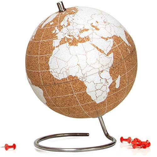 SUCK UK Blanco Globo Terráqueo Pequeño   Bola del Mundo De Corcho Diseño Decoración del Hogar, Madera, Small