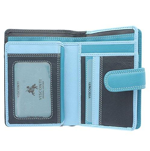 Visconti Rainbow-Kollektion Geldbörse / Geldbeutel, Damen, Leder mit RFID-Schutz RB51 MarineBlau Multi