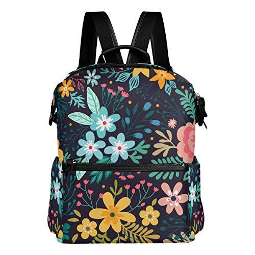 KIMDFACE Rucksack,Erstaunliches Blumenmuster Helle Bunte Blumen,Laptoptaschen Casual Print Umhängetasche Student Daypack Reisen Wandern Camping Packs(29 * 16 * 38 cm)
