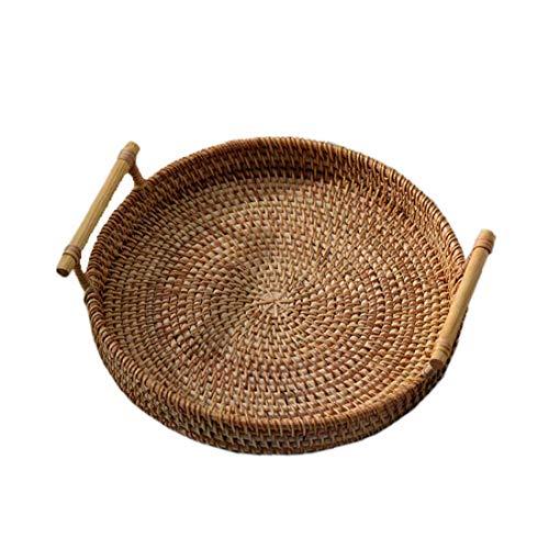 Nicedier Cesta Tejida Rota Redonda de Almacenamiento Bandeja de Tejido a Mano la Cesta de Mimbre con asa de Pan de Fruta Comida El Desayuno Display (28x7cm)