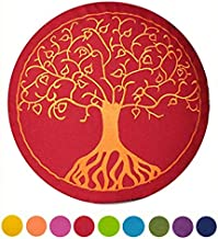 maylow Yoga mit Herz - Yogakissen Meditationskissen mit Stickerei Baum des Lebens 33x15cm mit Dinkelspelz gefüllt - Bezug und Inlett 100% Baumwolle