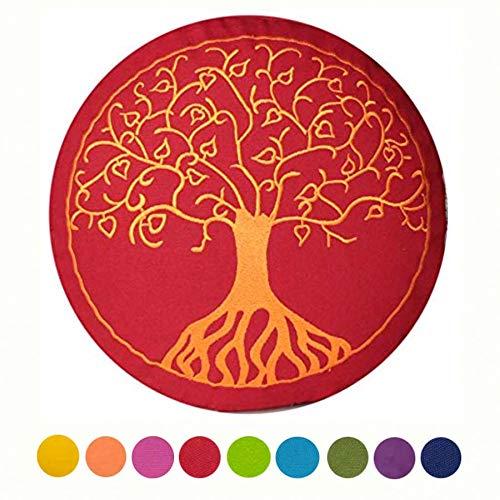 """maylow - Yoga mit Herz ® Yogakissen Meditationskissen mit Stickerei """" Baum des Lebens """" Bezug und Inlett 100% Baumwolle mit Dinkelspelz gefüllt (buddhistisch rot, 15)"""