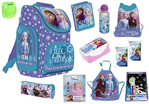 Disney Eiskönigin 2 Frozen 2 Schulranzen Set 12-TLG. mit Schüleretui, Federmappe, Sportbeutel, Schürze, Brotdose, Trinkflasche u.v.m. für Mädchen