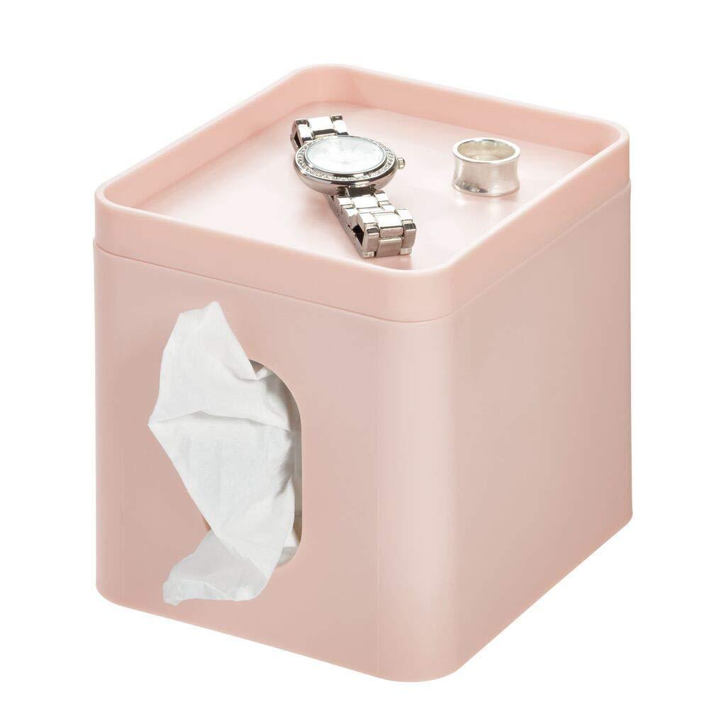 iDesign Caja para pañuelos, pequeña caja de almacenamiento en plástico para toallitas cosméticas, funda para caja de pañuelos con bandeja para joyas o maquillaje, rosa: Amazon.es: Hogar