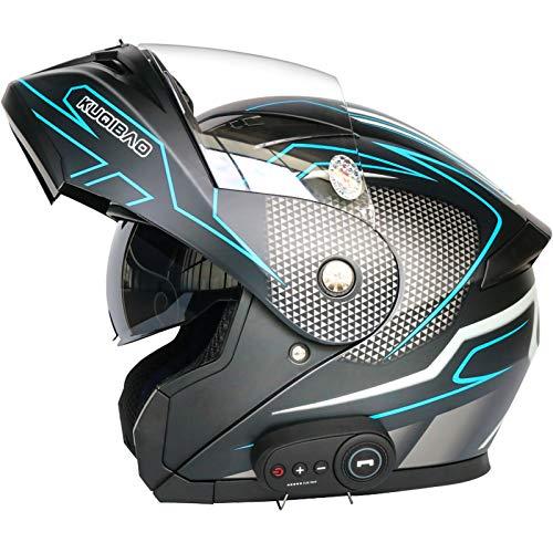 STRTG Bluetooth Modular Motocicleta Casco, Dot Certificado Moto Integral Casco con Doble Visera Casco Incorporado En MP3 FM Broadcast Integrado De Intercomunicación Sistema De Comuni B,XL61-62cm